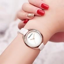 WEDERGEBOORTE RE028 vrouwen kijken Ultra-Simple Double-shell Quartz waterdichte lederen riem horloge (wit Rose goud)