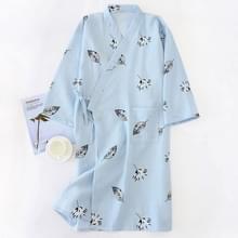 Dunne Tulle Katoen Ademende Zachte Losse Casual Kimono Badjas  Maat:L(Blauw)