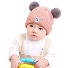 Herfst en winter kinderen katoen dubbele bal earmuffs gebreide muts  grootte: zonder kasjmier (roze)
