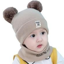 0-12 maanden herfst en winter kinderen earmuffs gebreide wollen Cap + brief sjaal set  grootte: 38-46CM (kaki)
