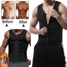 Mannen rits vest buik korset fitness kleding  maat: XL (zwart)