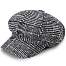 Herfst en Winter Retro Stijl Woolen Beret Octagonal Cap  Hoed Grootte: 58cm (Lichtgrijs)