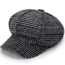 Herfst en Winter Retro Stijl Woolen Beret Octagonal Cap  Hoed Grootte: 58cm (Donkergrijs)