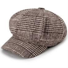 Herfst en winter retro stijl wollen geruite baret achthoekige GLB  hoed grootte: 58cm (koffie)