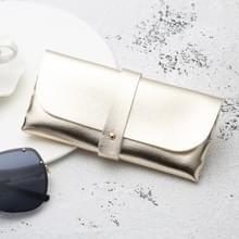 Mode Portable bril zaak magnetische PU leder opvouwbare glazen doos voor lenzenvloeistof oversize zonnebril (goud)