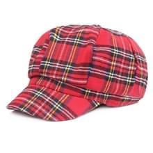 Vrouwen Plaid Textuur Doek Doek Schilder Cap Shade Beret  Grootte:55-58cm (Rood)