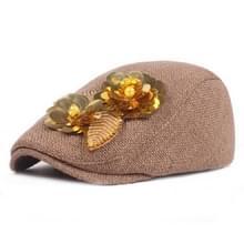 Lady Flower Cap Katoenlinnen Beret National Style Hat  Maat:55-60cm(Khaki)