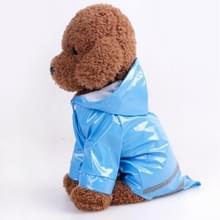 Pet Regenjas Kattenkleding PU Reflecterende Hond Hooded Regenjas  Maat: L (Blauw)