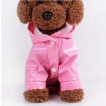 Huisdier regenjas kat kleren PU reflecterende hond Hooded regenjas  maat: L (roze)