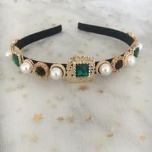 Barokke retro vierkante edelsteen parel eenvoudige Multicolor wild hoofdband (groen)