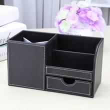PU lederen multifunctionele Bureau briefpapier organisator pen opbergdoos (zwart)