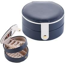 2 Tiers sieraden Portable vak make-up oorbellen Case opslag organisator container (donkerblauw)
