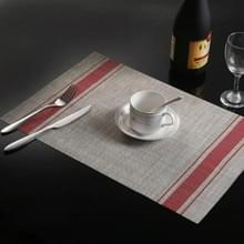 2 PCS Duurzaam PVC Tafelmatten Koffie cup pad gevlochten slip placemats  grootte: 30x45cm(Rood)