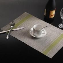 2 PCS Duurzaam PVC Tafelmatten Koffie cup pad gevlochten slip placemats  grootte: 30x45cm(Groen)