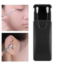 2 in 1 Oor reiniging cosmetische siliconen knoppen dubbelhoofdig Recycling Reiniging Make-up Swabs Sticks (Zwart)