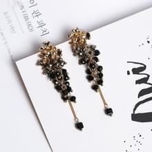 Vrouwen metalen bloem gekleurde parel kwast Earring (zwart grijs)