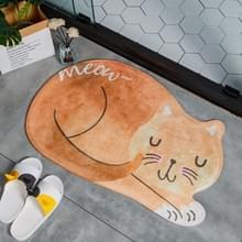Cartoon slapende kat Badmat badkamer tapijten toilet anti-slip vloermat  grootte: 60X90CM (oranje)