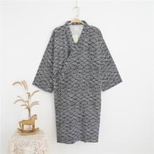 Man Pure Cotton Dubbeldeks Badjas Kimono Pyjama's Home Wear  Maat: L (Grijs)