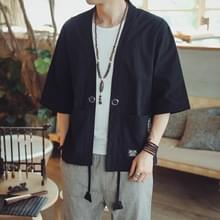 Mannen Cardigan tops driekwart mouw Chinese stijl jas  maat: L (zwart)