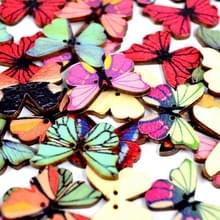 50 in 1 Vintage milieuvriendelijke handgeschilderde houten vlinder vormknop  willekeurige stijl levering  grootte: 28mm