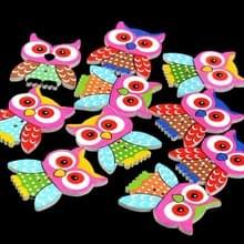 20 in 1 kinderen kleding kleurrijke cartoon Owl houten oog knop  specificatie: 35 x 28mm