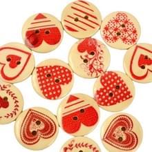 30 in 1 liefde-hart vorm houten knoppen met oog  grootte: 20mm