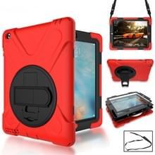 360 graden rotatie siliconen beschermhoes met houder en hand riem en lange riem voor iPad 5/iPad Air (rood)