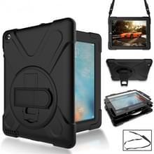 360 graden rotatie siliconen beschermhoes met houder en hand riem en lange riem voor iPad 5/iPad Air (zwart)