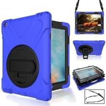 360 graden rotatie siliconen beschermhoes met houder en hand riem en lange riem voor iPad 5/iPad Air (blauw)
