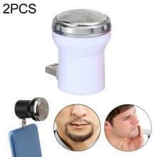 2PCS Electric USB Shaver Mini Portable Plug In Travel Razor (Wit)
