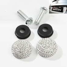 Auto License Plate modificatie schroefdop diamant-ingelegde Solid Seal anti-diefstal schroeven (wit)