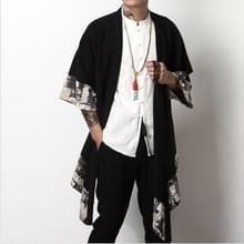 Mannen linnen/katoen Windbreaker lange alinea gevlochten losse Cardigan  grootte: 3XL (zwart)