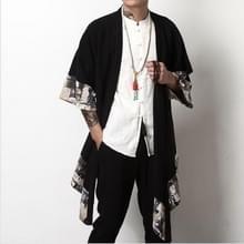 Mannen linnen/katoen Windbreaker lange alinea gevlochten losse Cardigan  grootte: 4XL (zwart)