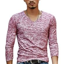 Slim Streetwear V-neck T Shirt Casual Fitness Tops Pullover Shirt voor heren (red)