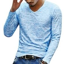 Slim Streetwear V-neck T Shirt Casual Fitness Tops Pullover Shirt voor heren (Blauw)