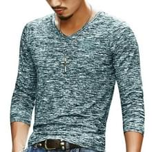 Slim Streetwear V-neck T Shirt Casual Fitness Tops Pullover Shirt voor heren (Donkergroen)