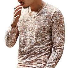 Slim Streetwear V-neck T Shirt Casual Fitness Tops Pullover Shirt voor heren(koffie)