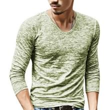 Slim Streetwear V-neck T Shirt Casual Fitness Tops Pullover Shirt voor heren (Grass Green)