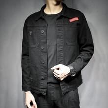 Casual zwarte slanke wild lente en herfst tooling denim jasje  maat: 3XL (zwart)