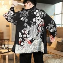 Kimono Cardigan Feather geweven dunne vacht gewaad Hanfu  grootte: 3XL (squid zwart)