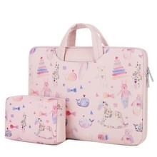 Cartoon zachte PU lederen draagbare waterdichte handheld notebook draagtas met Power tas  grootte: 13 inch (Bear Pink)