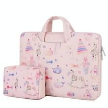 Cartoon zachte PU lederen draagbare waterdichte handheld notebook draagtas met Power tas  grootte: 15 inch (Bear Pink)