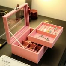 Flanel sieraden transparante dubbele opbergdoos oorbellen afwerking slaapkamer sieraden doos (roze-S)