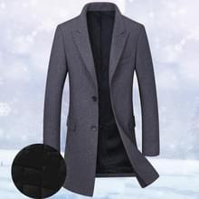 Mode winter mannen slanke wollen jas  grootte: XXL (donkergrijs (plus katoen))