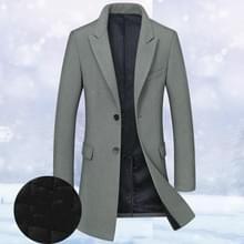 Mode winter mannen slanke wollen jas  grootte: XXXL (donkergroen (plus katoen))