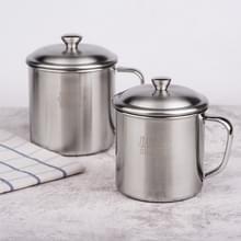5 stuks extra dik 304 RVS Cup Kinder mond beker met handvat cover huishoudelijke volwassen drinken water beker 12cm met deksel