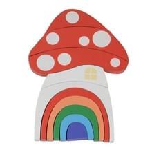 Houten kinderen speelgoed paddestoel Rainbow blokken ornamenten fotografie Props (oranje)
