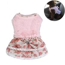 AB118 huisdier kleding hond Bow Floral trui rok  maat: S (roze)