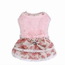 AB118 huisdier kleding hond Bow Floral trui rok  maat: L (roze)