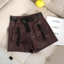 Herfst en winter PU lederen grote zak tooling Wide Leg shorts  maat: L (wijn rood)